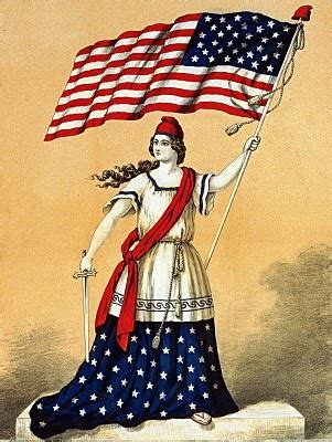 Vintage 4th of July Clip Art - Lady Liberty with Flag