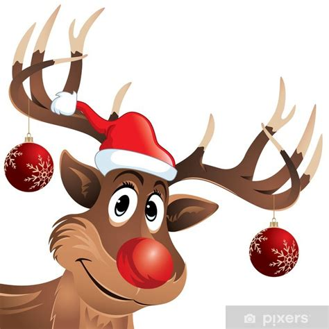 Rudolph the reindeer red nose with hat and Christmas balls
