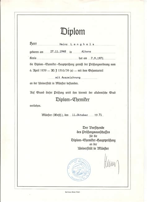 Diploma in organic chemistry at the University of Münster