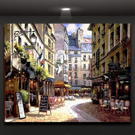 Europe Street Coffee Shop Wall Picture Canvas Print Art