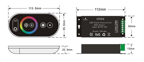 2019 GT666 18A RF Wireless Touch RGB LED Controller For